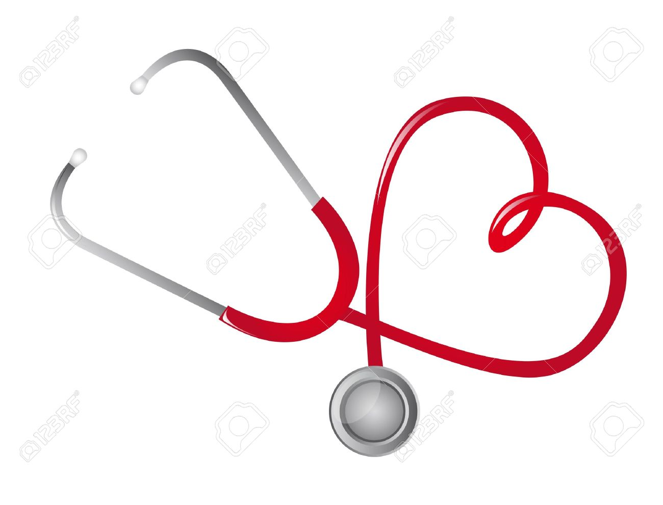 red stethoscope heart-shaped isolated. vector illustration Stock Vector - 11657404