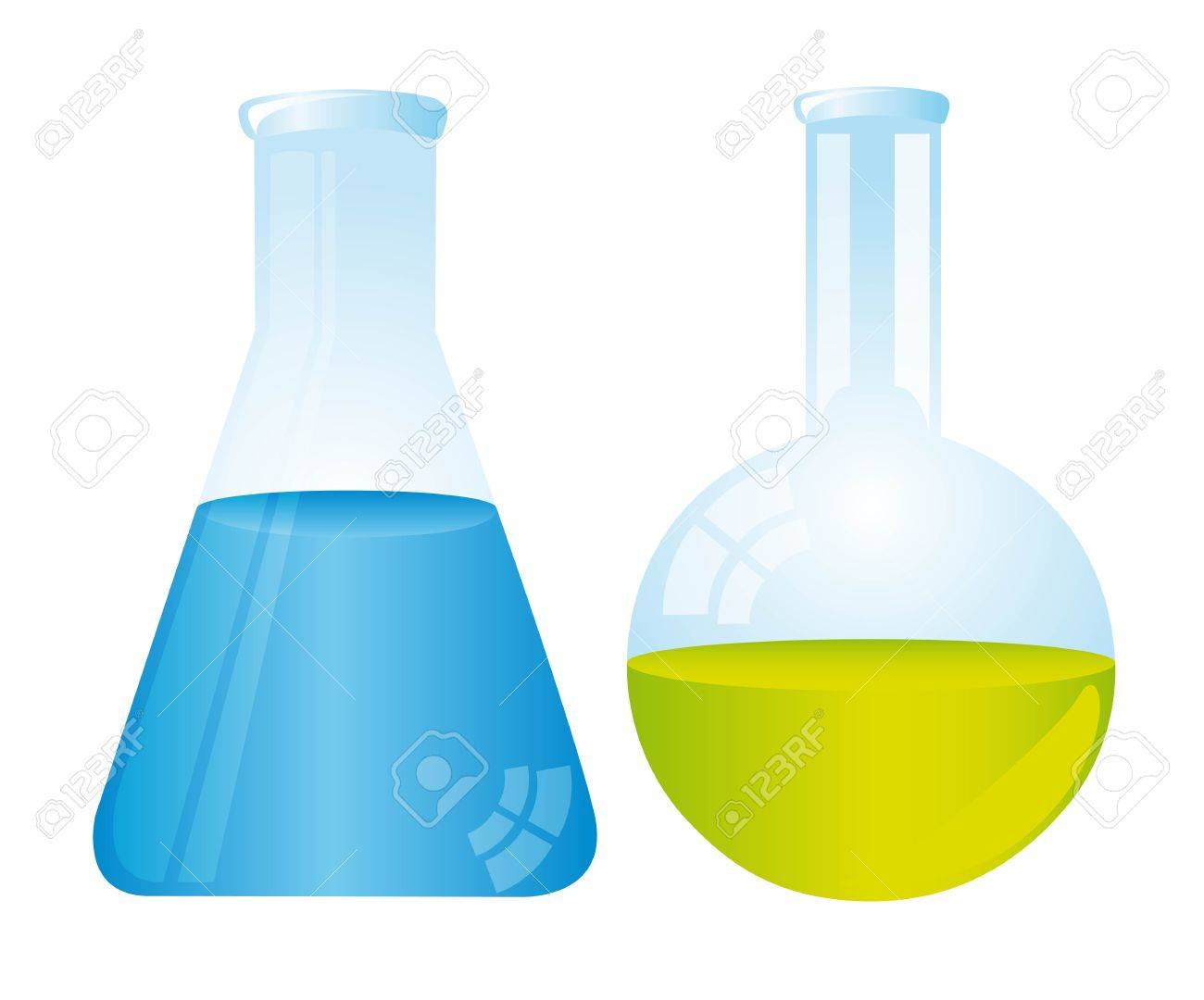two test tubes isolated over white background Stock Vector - 11886147
