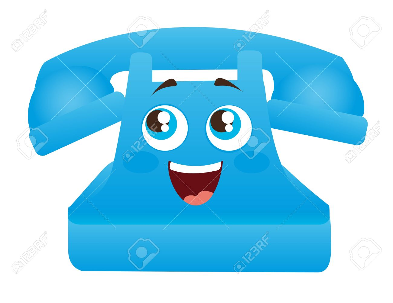 blue telephone cartoon with eyes and mouth illustration Stock Vector - 11886129