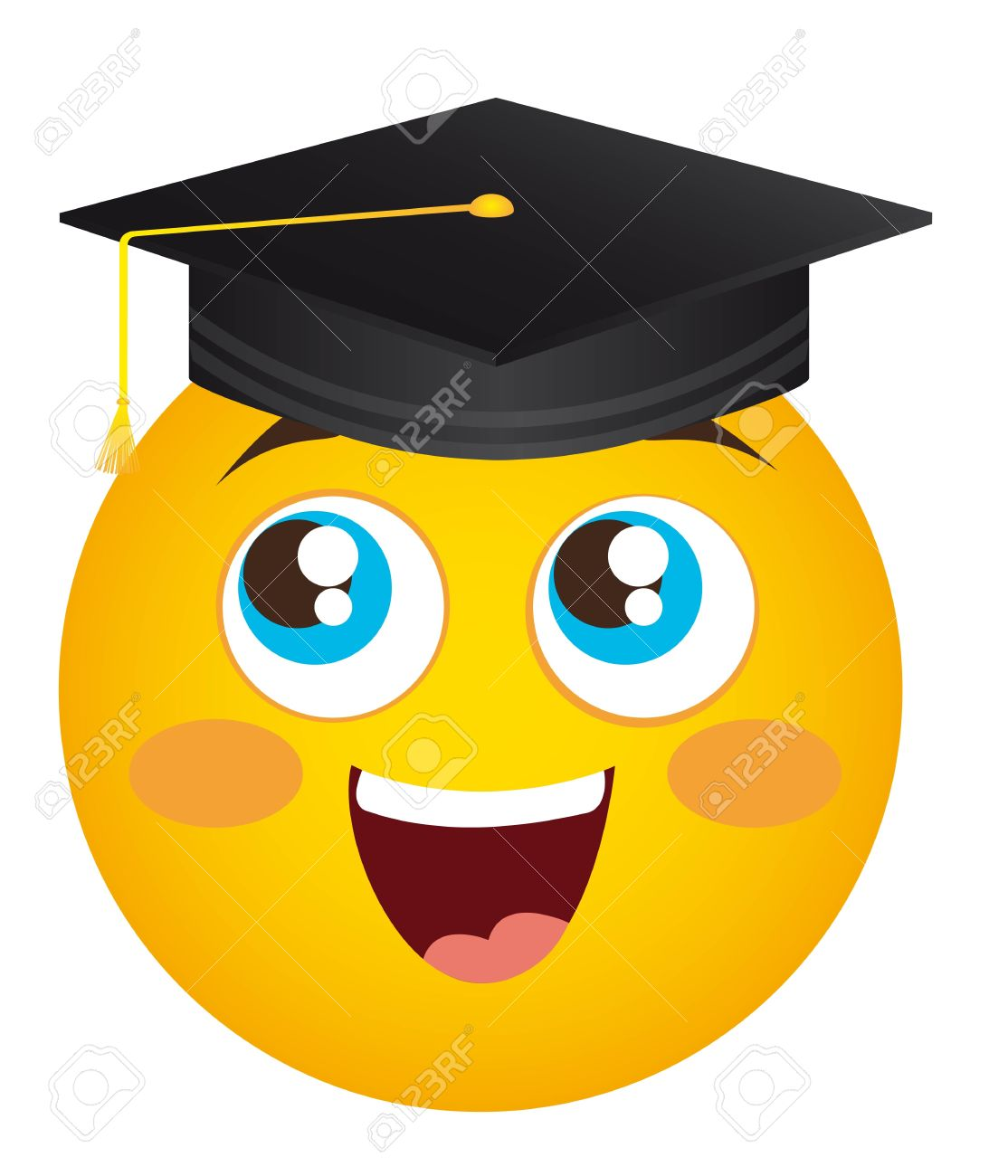 yellow happy face graduate hat isolated illustration Stock Vector - 11886141