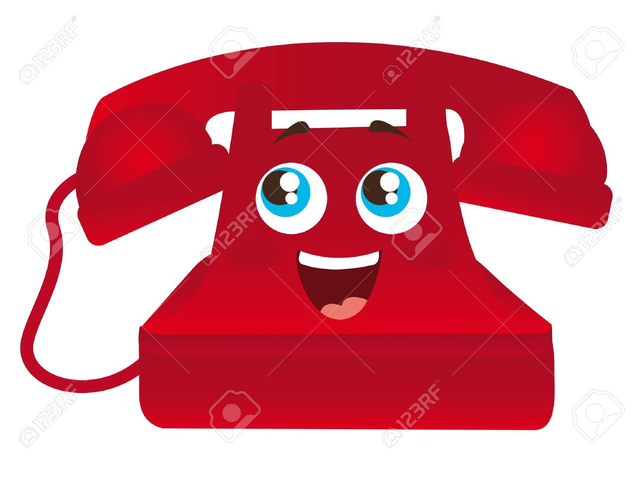 red happy telephone cartoon with eyes isolated illustration Stock Vector - 11886128
