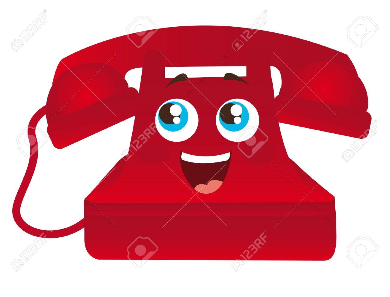 Rot Glücklich Cartoon-Telefon Mit Den Augen, Abbildung, Lizenzfrei ...