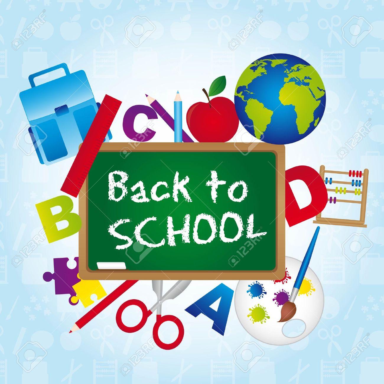 back to school over blue background. vector illustration - 11986434