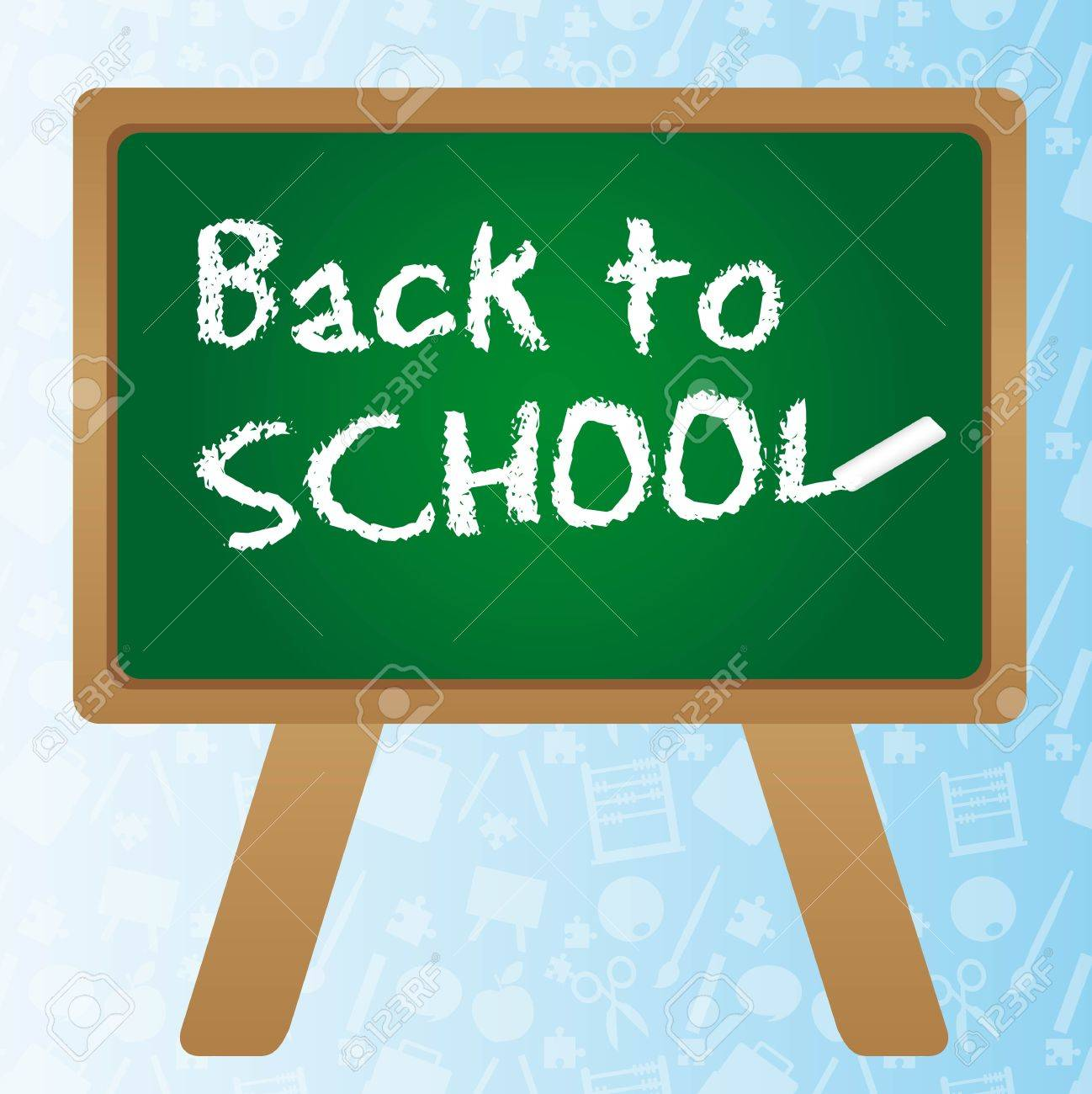 Back to school  over green chalkboard. vector illustrator Stock Vector - 11986433