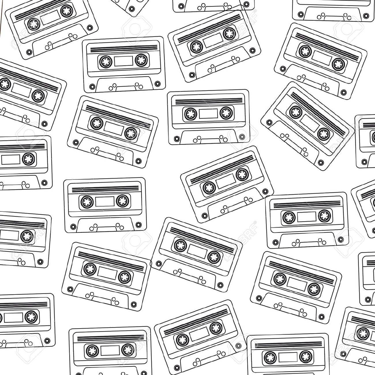 Boombox Vector Drawing Illustration Retro Sketch Stock Vector ...
