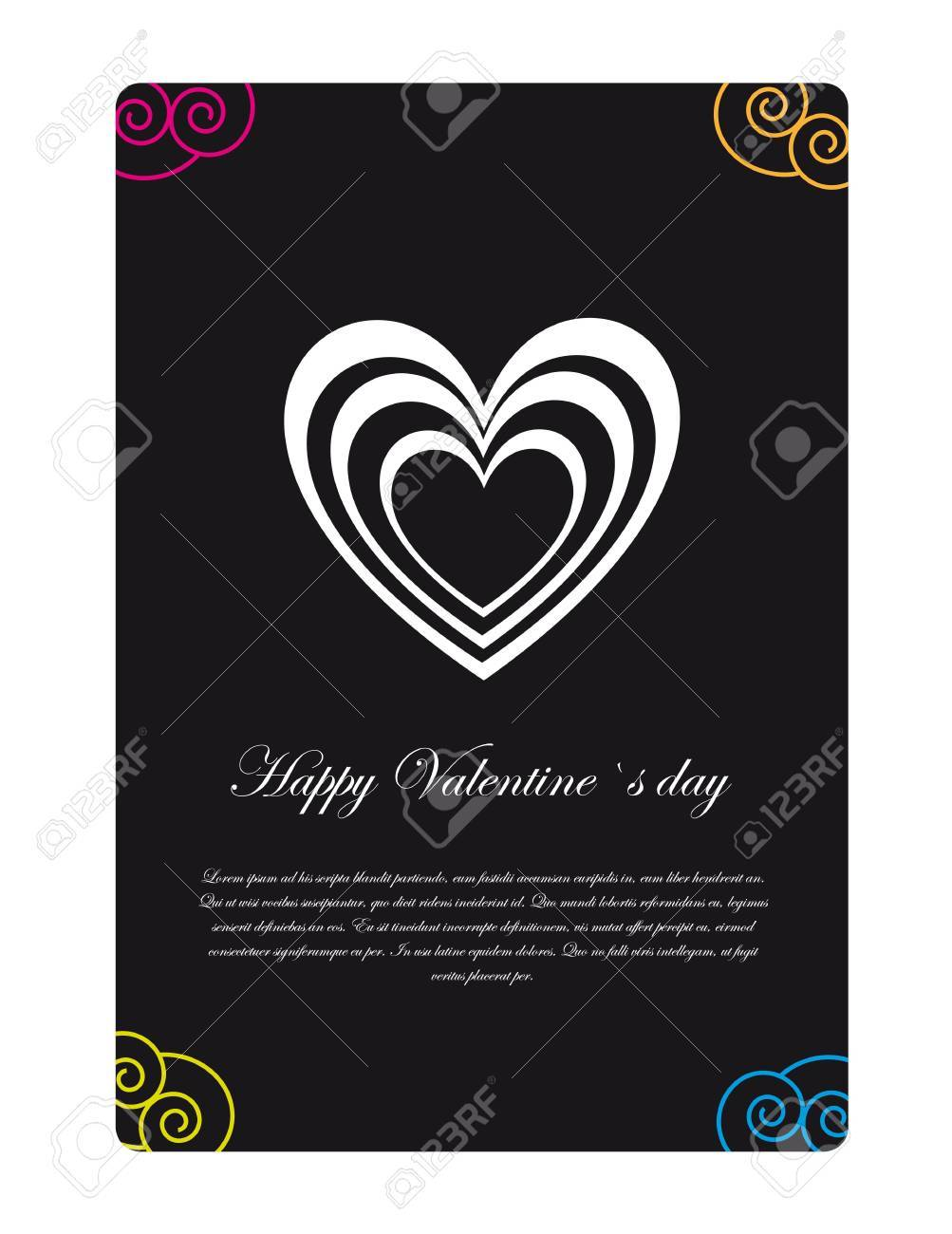 Black valentines day card with space to insert text, illustration Stock Vector - 12102490