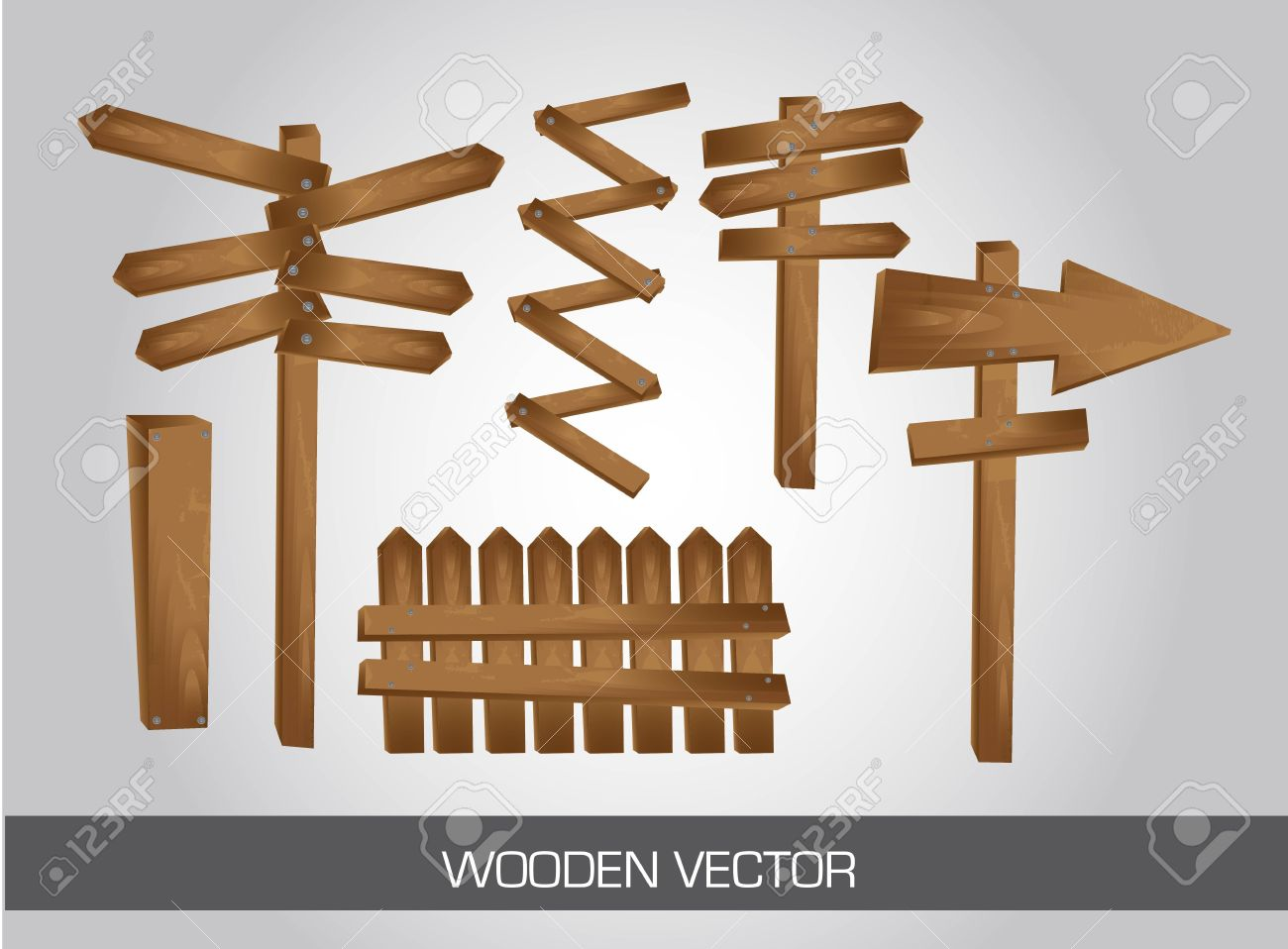 six wooden sign indication over gray background. Stock Vector - 12337641