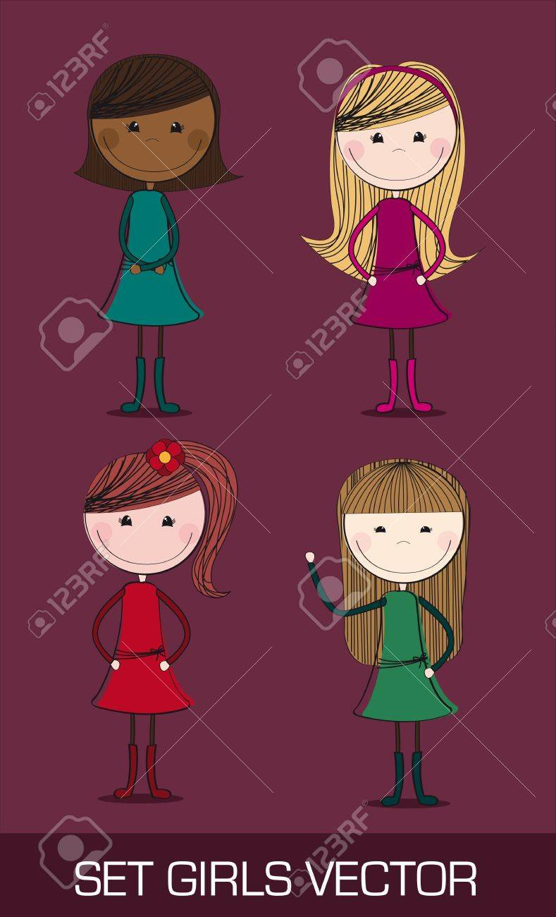 four cute girl over purple background. illustration Stock Vector - 12337516