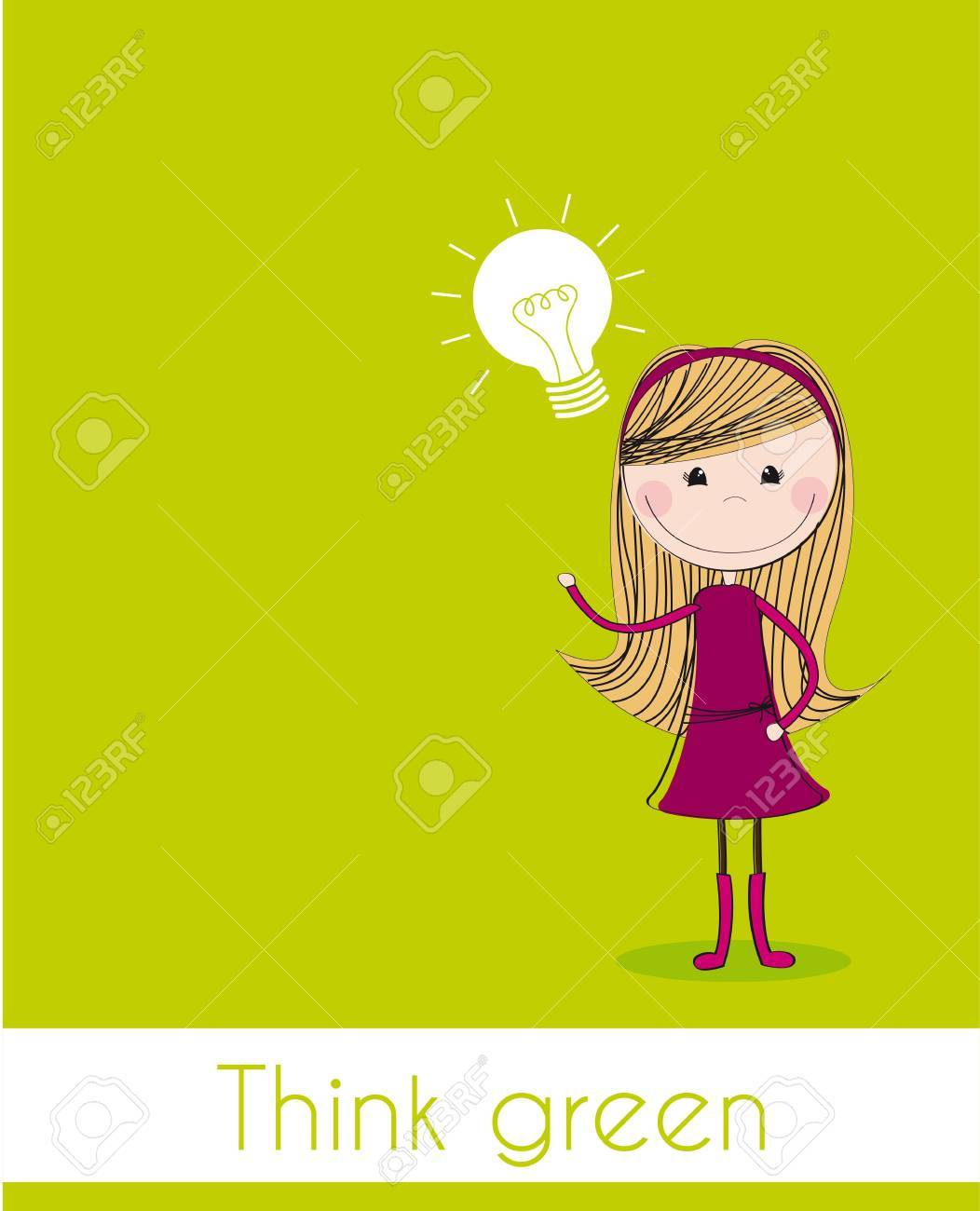 cute girl with bulb electric over green background. Stock Vector - 12337544