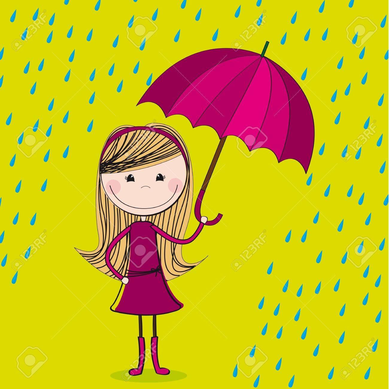 cute girl with umbrella, raindrop over green background. Stock Vector - 12337579