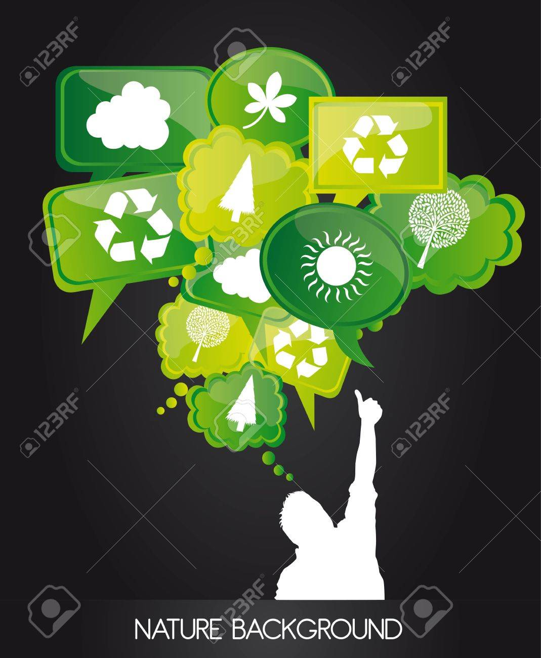 Nature icons on bubbles over black background Stock Vector - 12337712