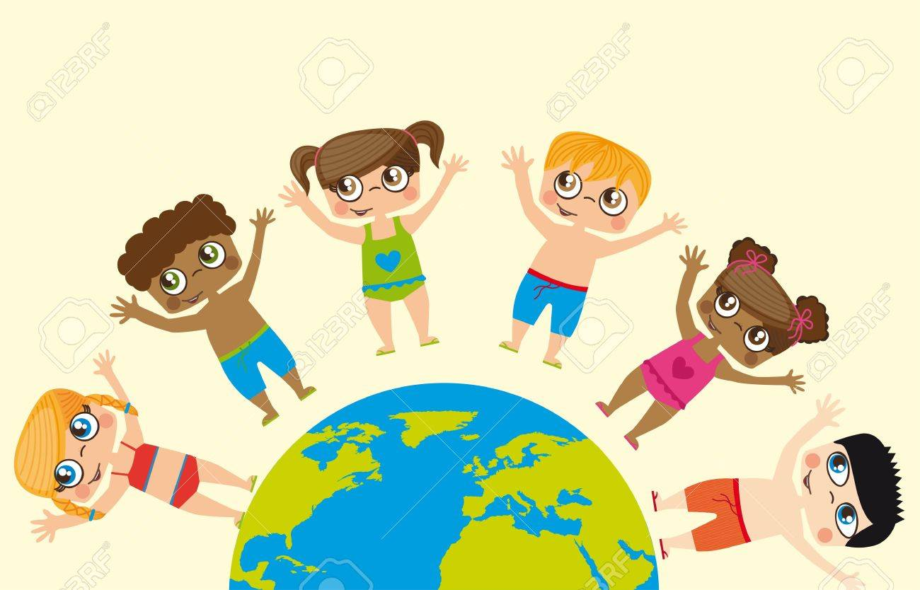 Girls and boys around the world, conceptual image Stock Vector - 12334059