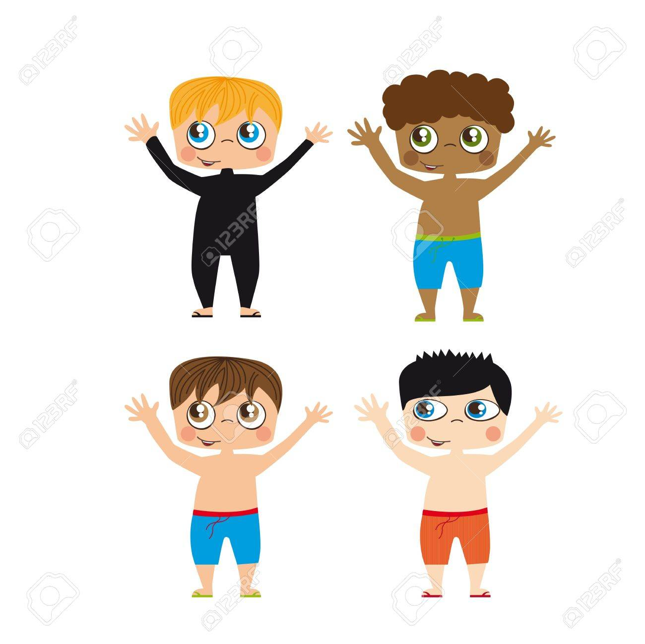 Boys Draw On White Background Illustration Royalty Free Cliparts