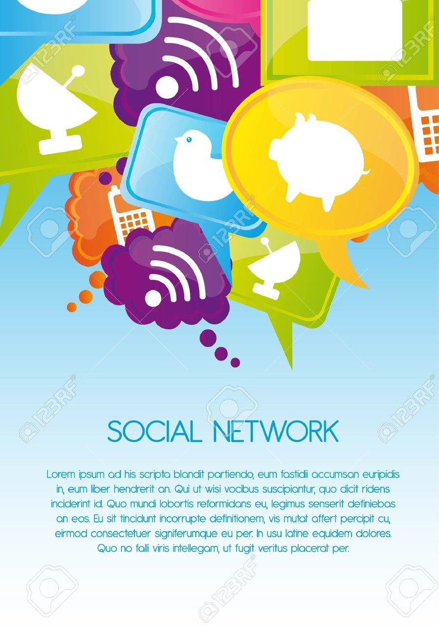 Social network icons on colors, Illustration Stock Vector - 12337731
