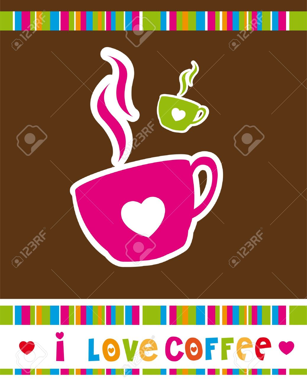 cute coffee cup over brown background, i love coffee. Stock Vector - 12492575