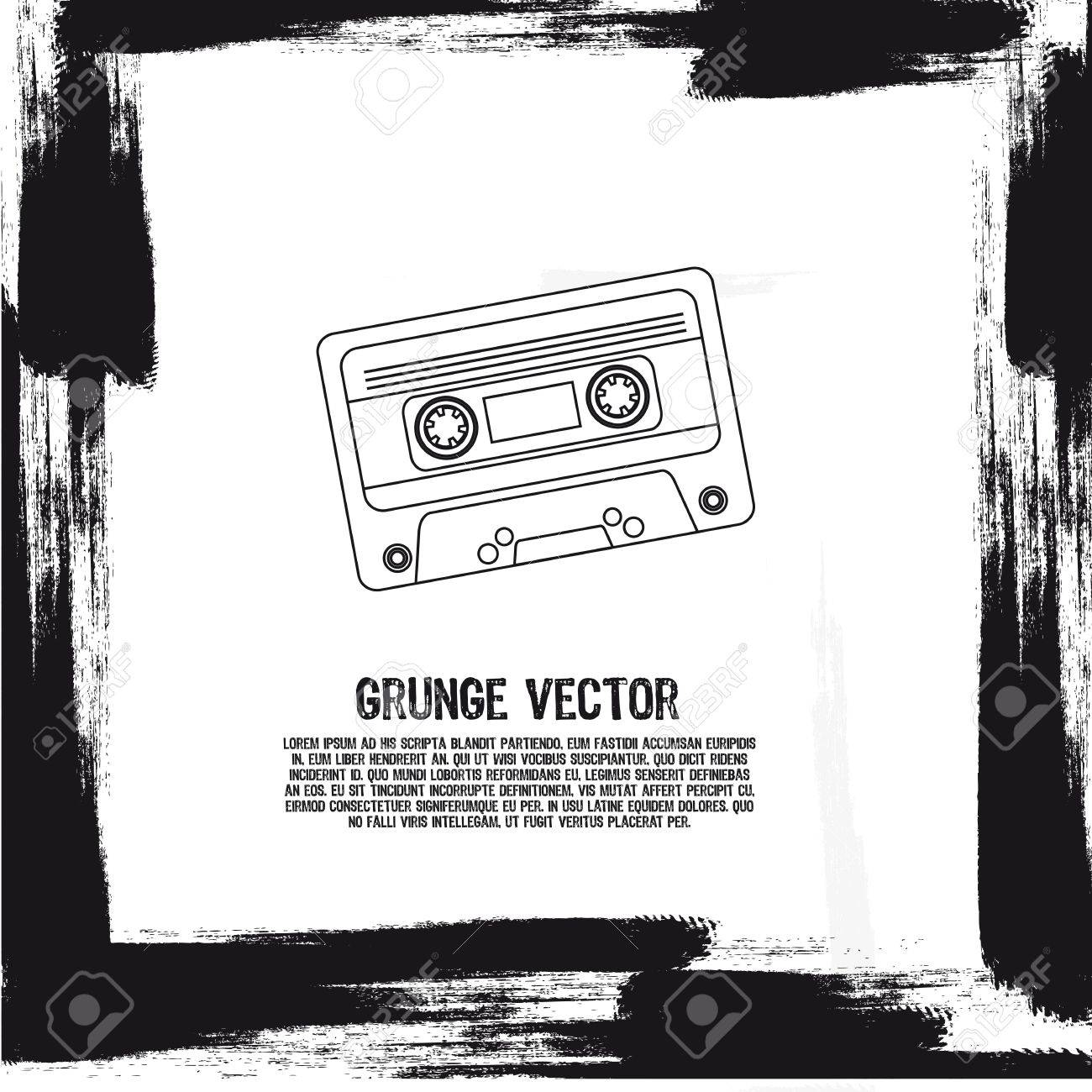 grunge silhouette cassette background. illustration Stock Vector - 12493130