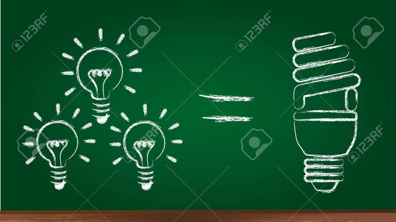 bulb electric over chalkboard, saving energy. illustration Stock Vector - 12493232