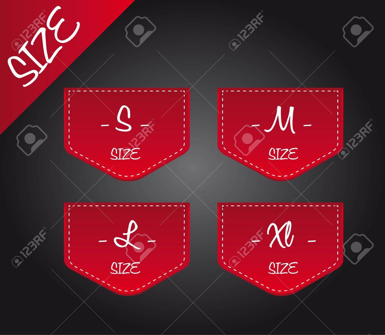 red four size over black background. illustration Stock Vector - 12493531