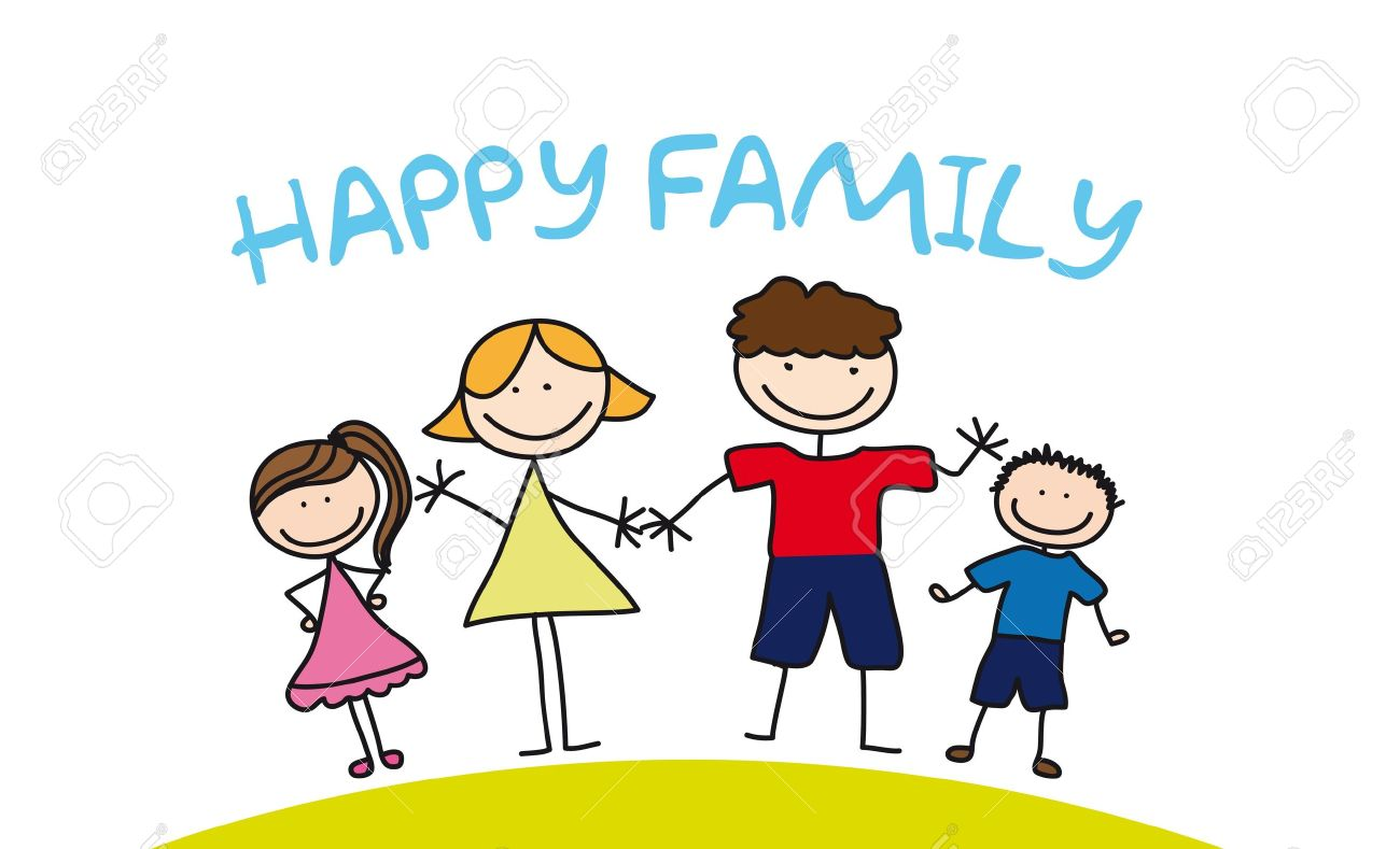 Happy Family Drawing Over Grass Illustration Royalty Free Cliparts