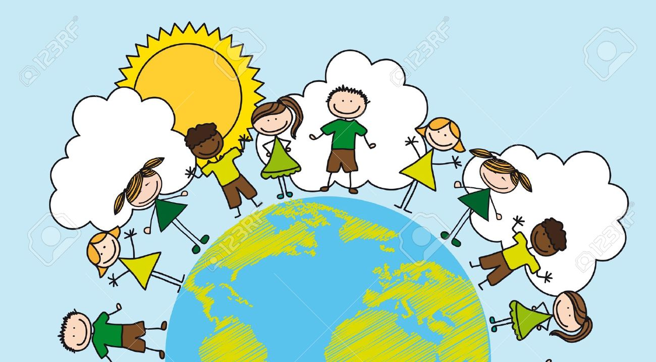 Children Over Planet Drawing Over Landscape. Royalty Free Cliparts ...