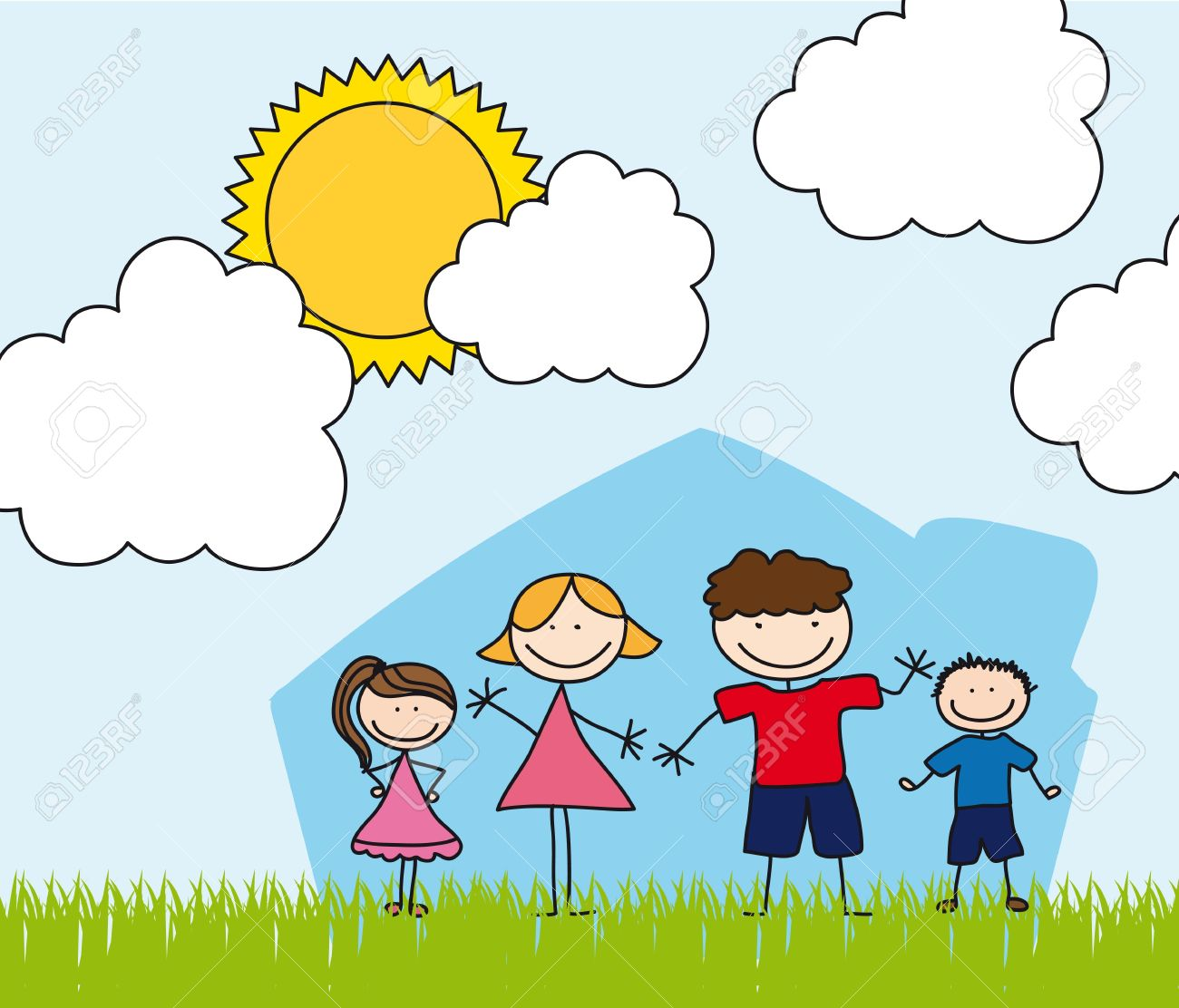 happy family over house drawing landscape royalty free cliparts
