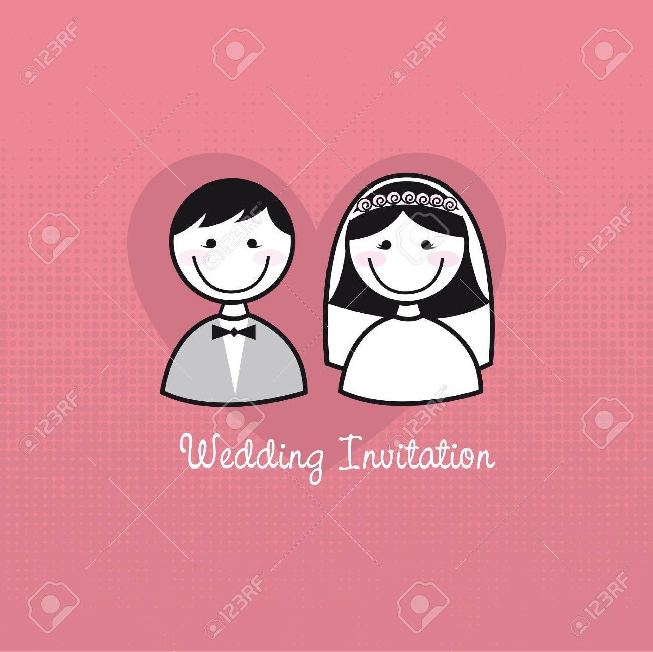 Iconos Lindo Hombre Y Una Mujer, La Invitación De La Boda. Vector ...