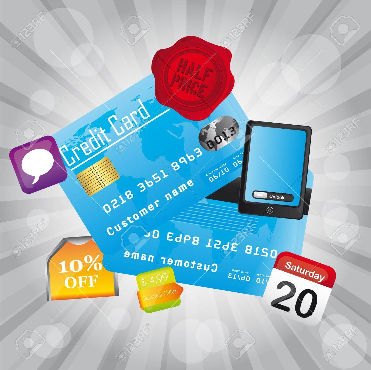 credit card with icons over silver background. vector Stock Vector - 12814138