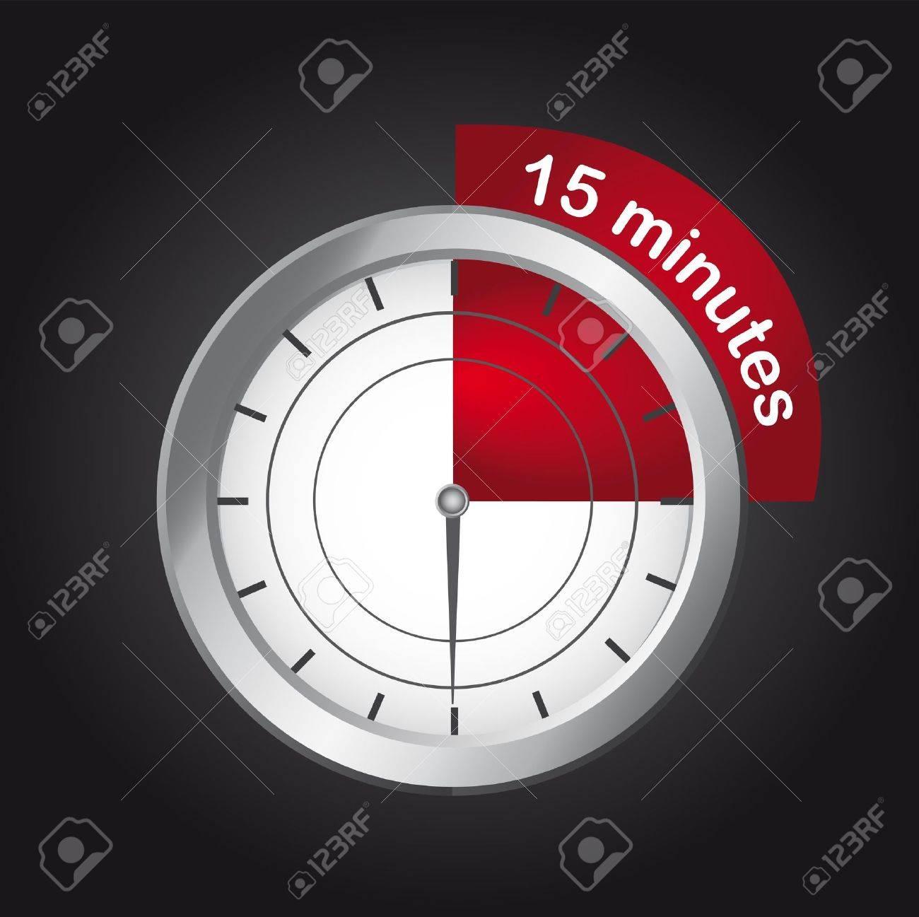 timer clock over black background, 15 minutes  vector