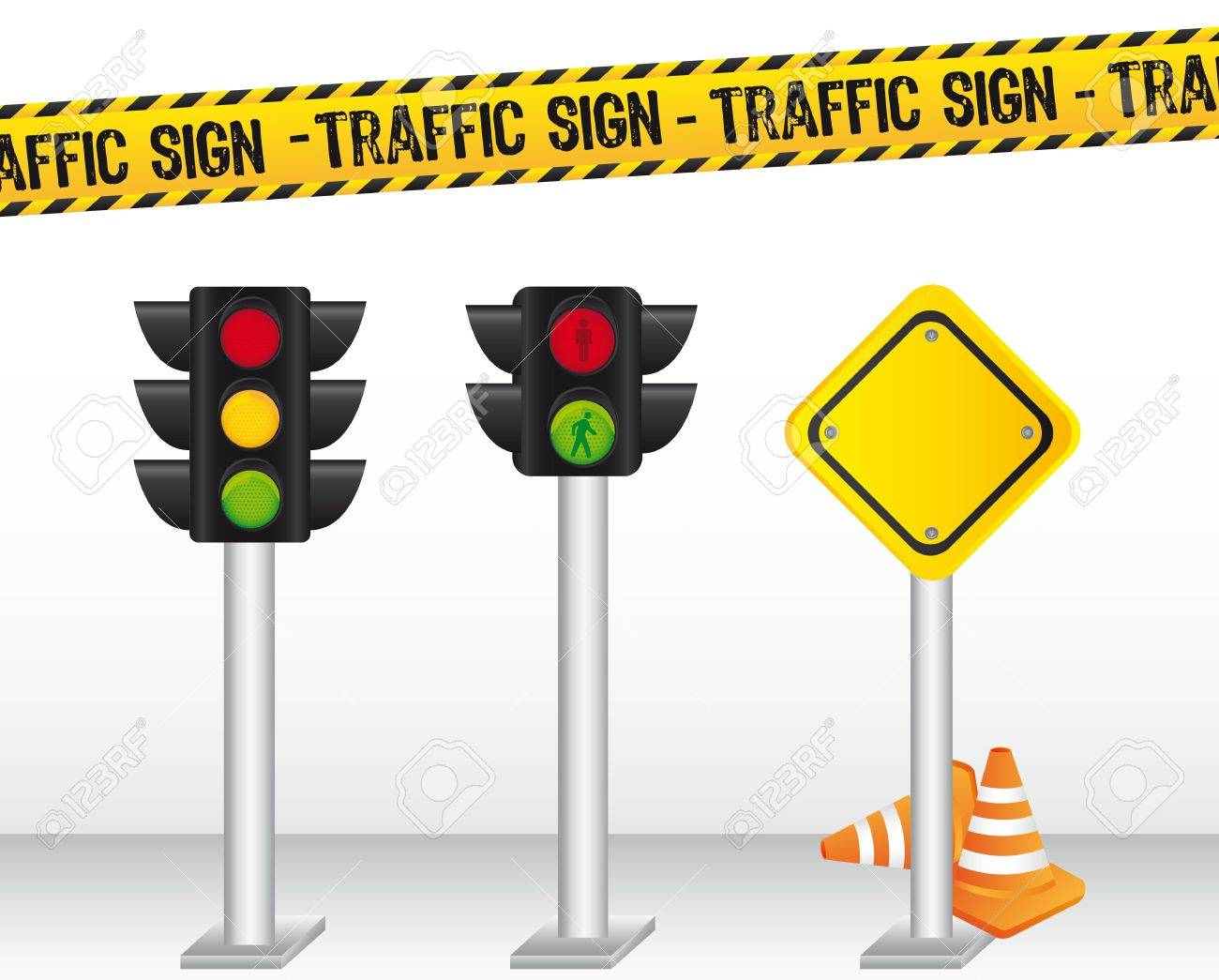 semaphore with traffic sign background. vector illustration Stock Vector - 12814135