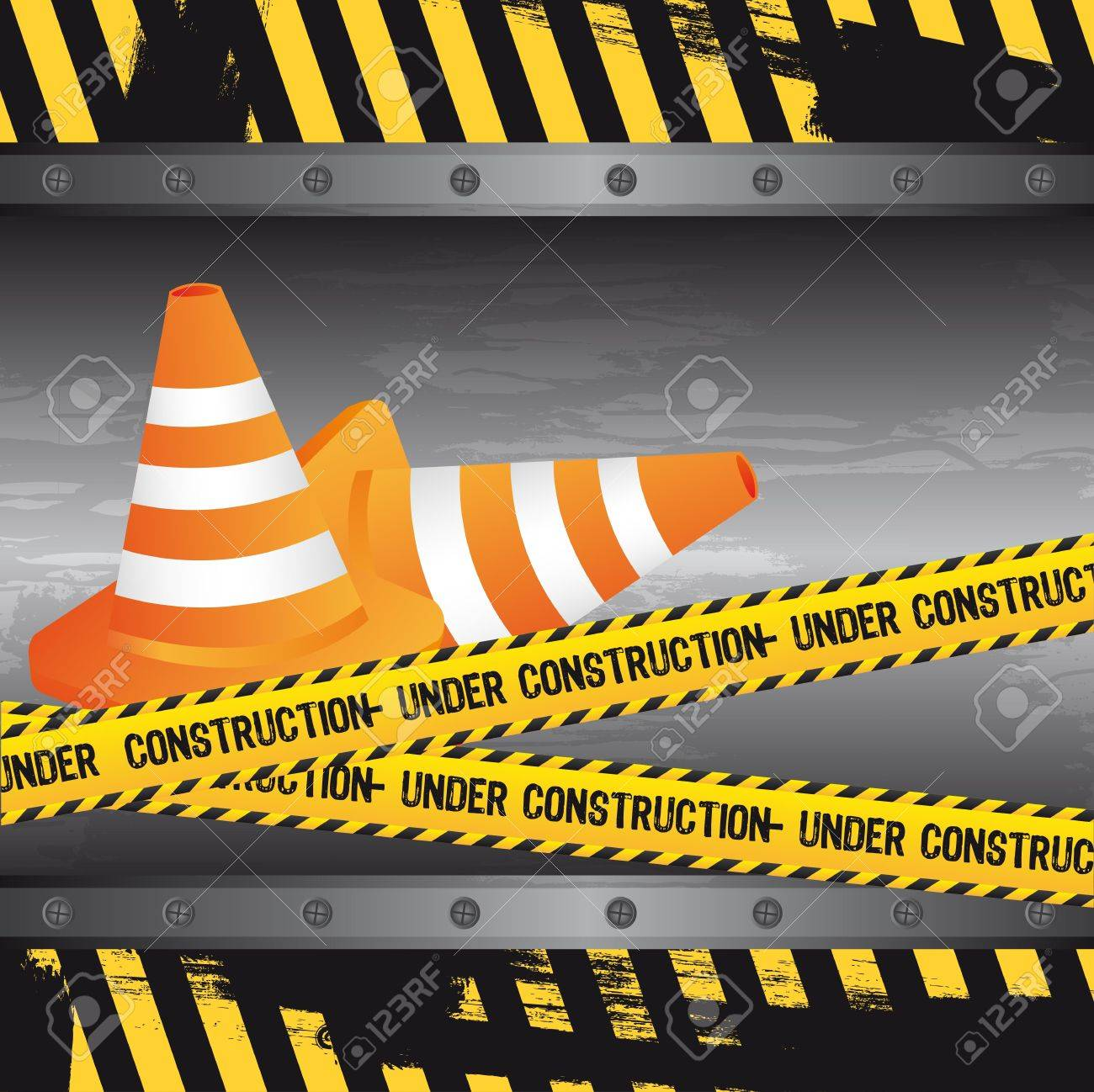 under construction with traffic cones, grunge. vector Stock Vector - 12814178
