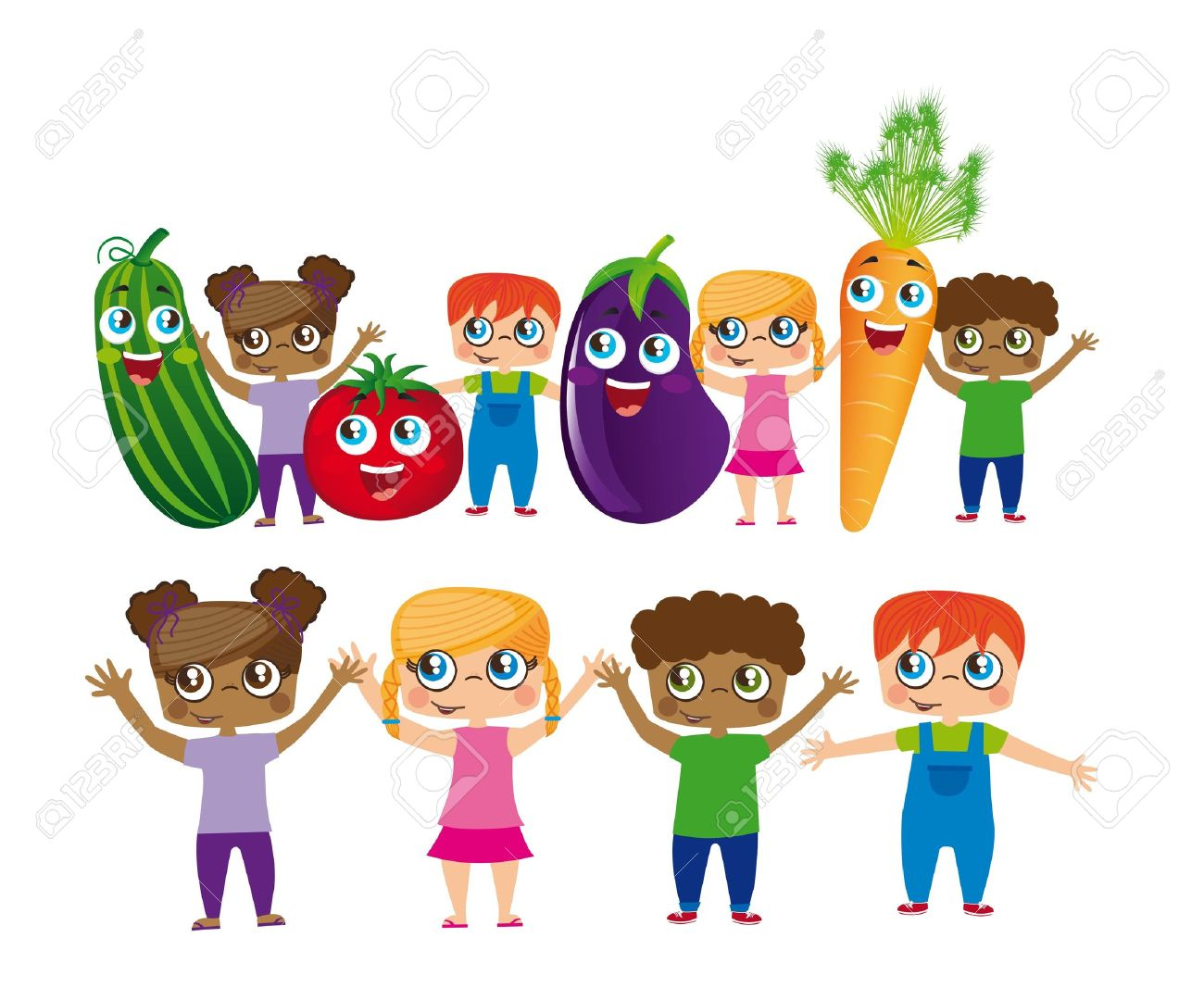childs with vegetables cartoons isolated over white background. Stock Vector - 12948345