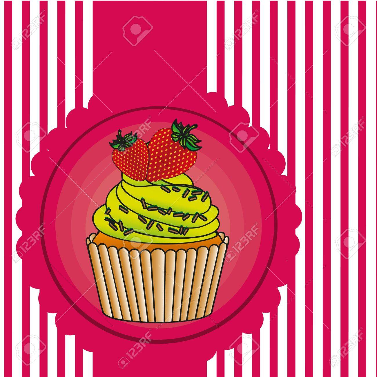 cupcake label on bottom lines, vector illustration Stock Vector - 13035154