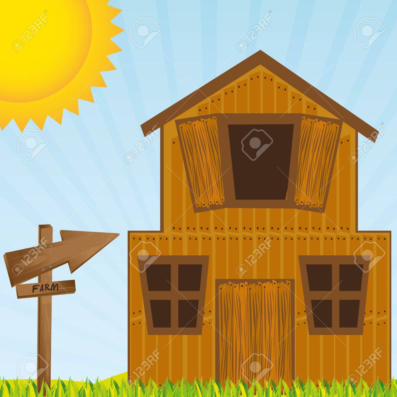 Barn, farm with grass an sky Stock Vector - 13308262