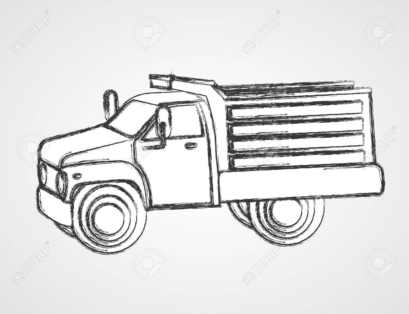 Drawing Dump Truck Isolated On Gray Background Stock Vector