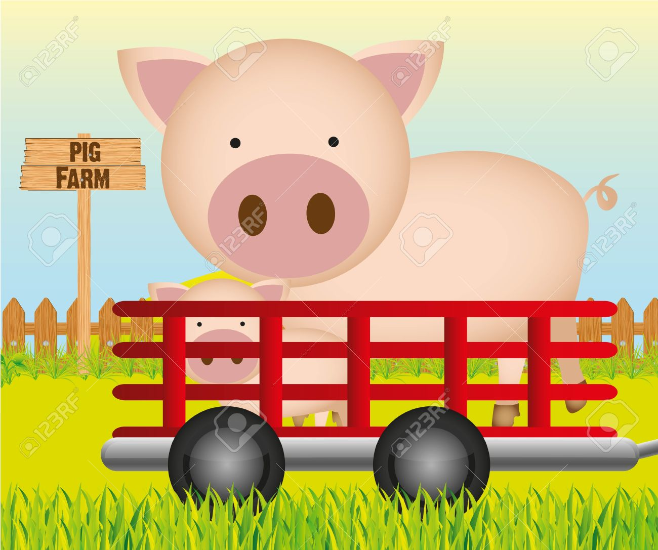 Trailer With Pig Farm Background