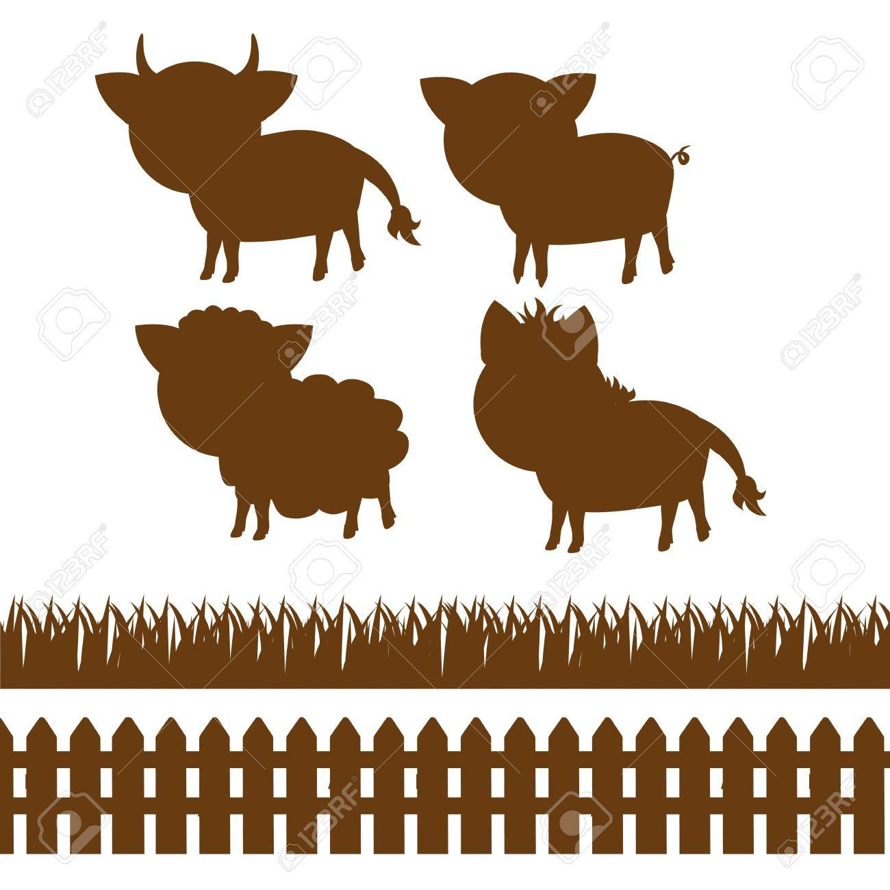 Farm Fence Clipart set of silhouettes of farm animals, wooden fence and grass royalty