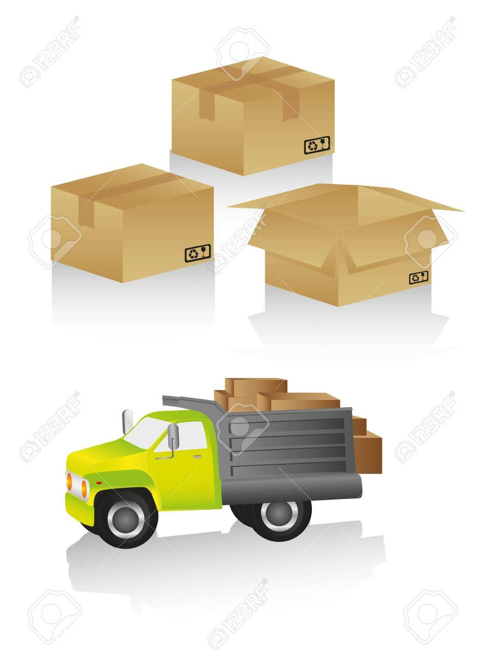 package delivery includes truck and boxes in different positions Stock Vector - 13308386