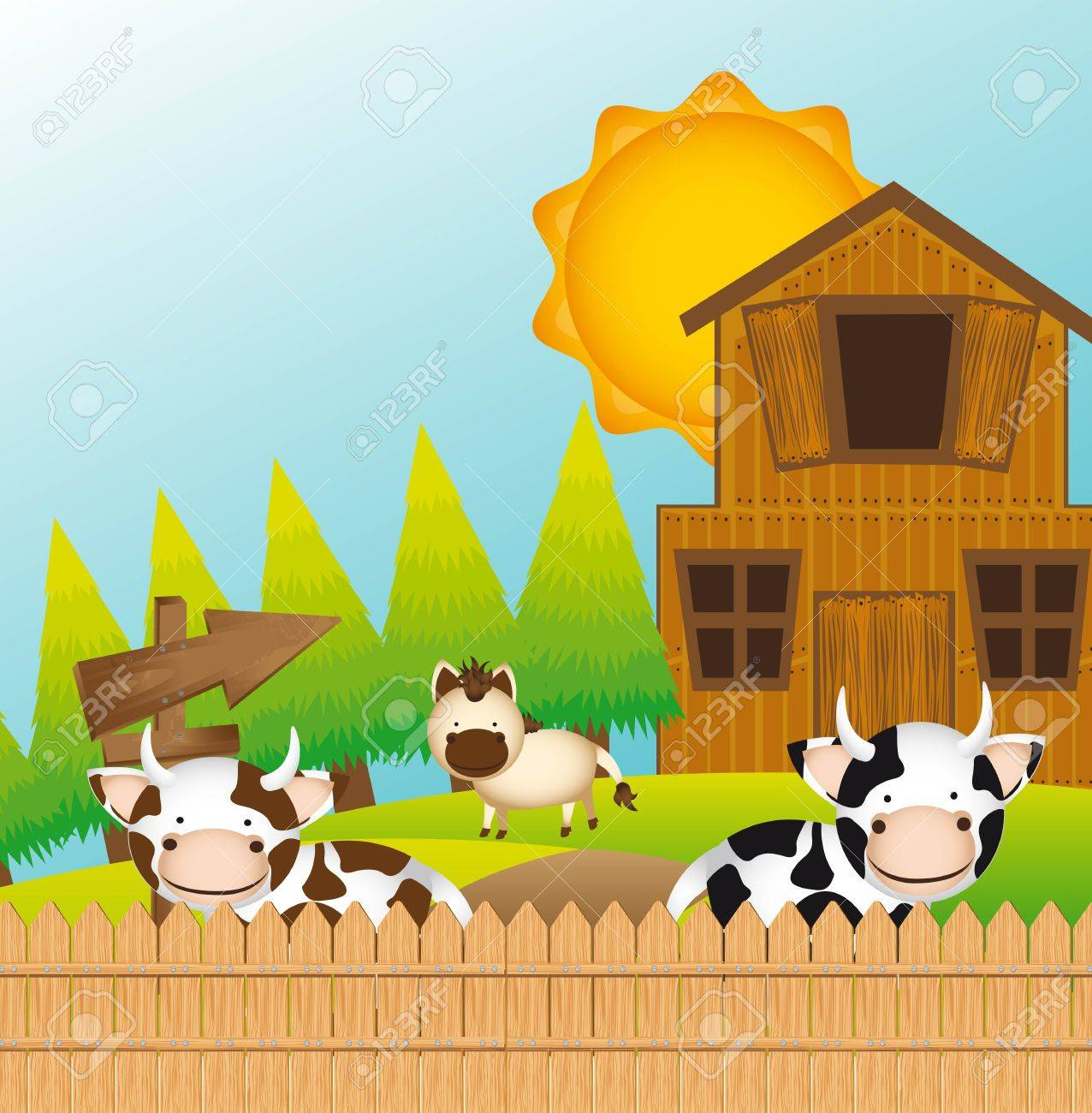 cute farm with cow and horse, cute landscape. Stock Vector - 13339260