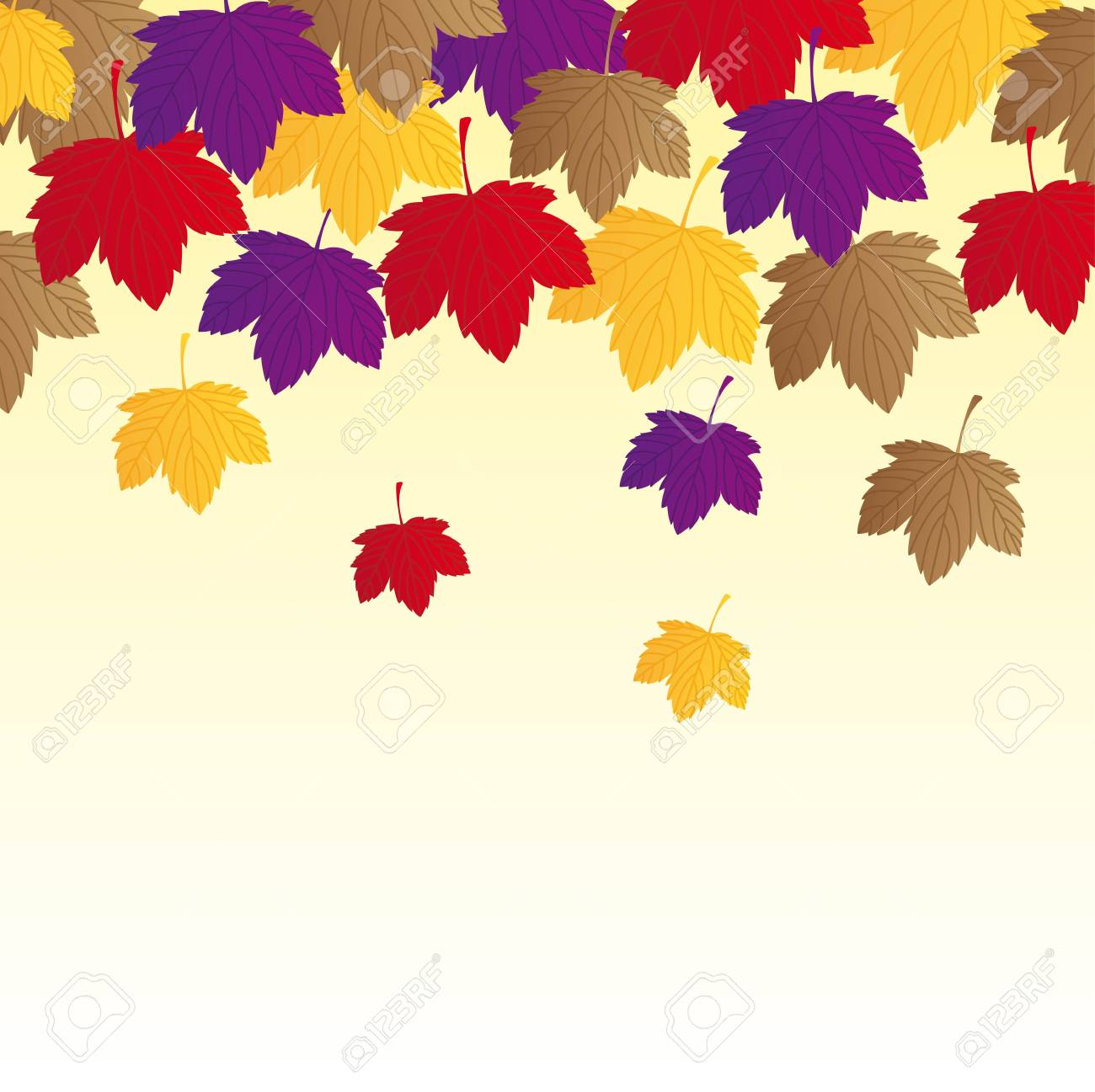 autumn leaves over beige background. Stock Vector - 13338863