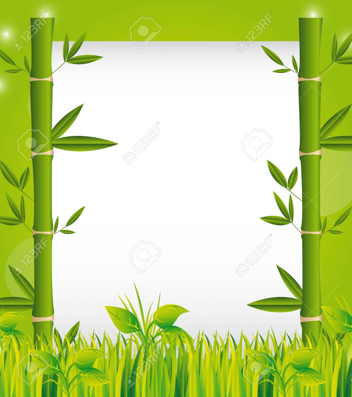bamboo over grass with space for copy, background. Stock Vector - 13439155