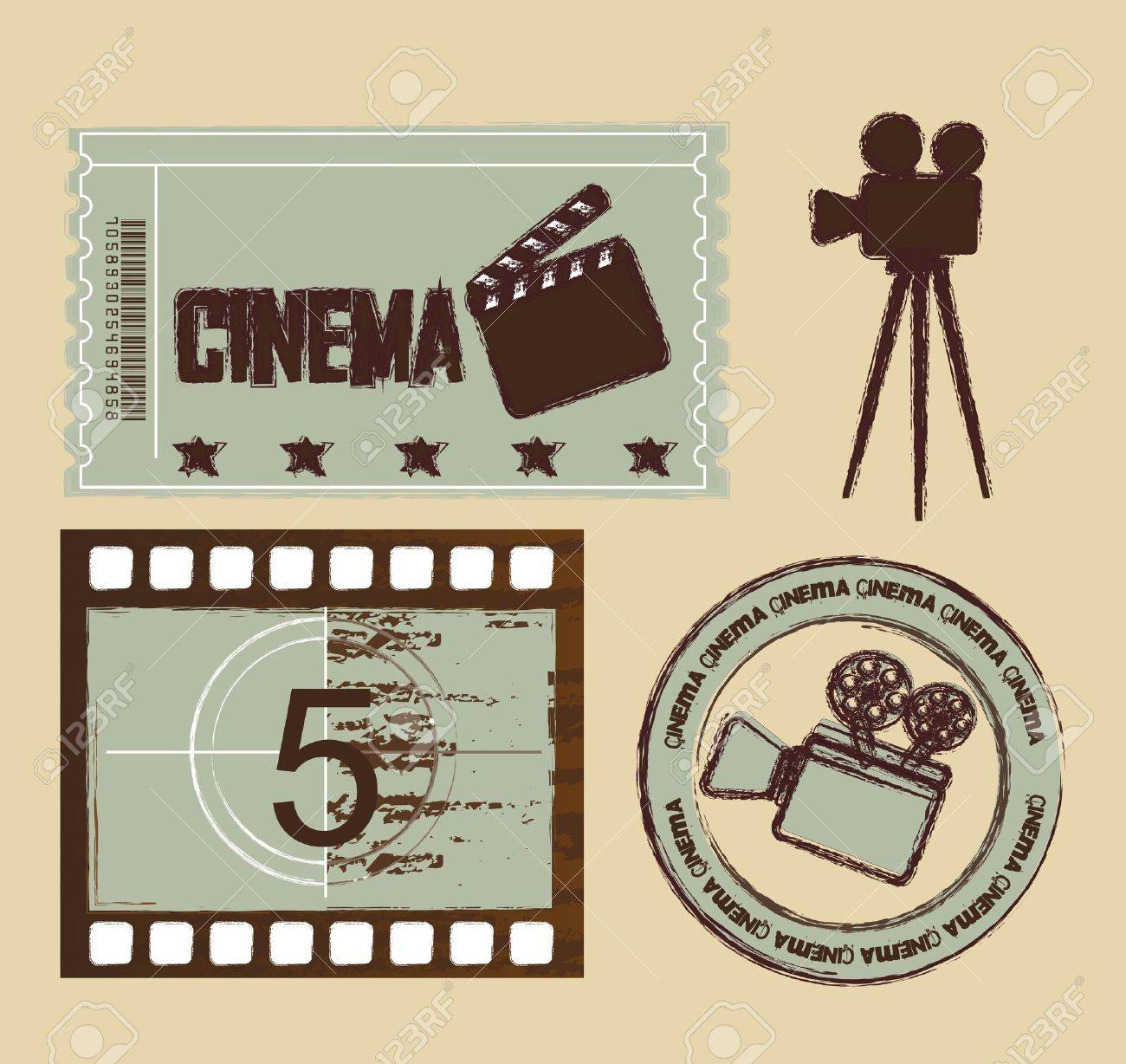 grunge ticket with seal and stripe film, cinema. Stock Vector - 13440702