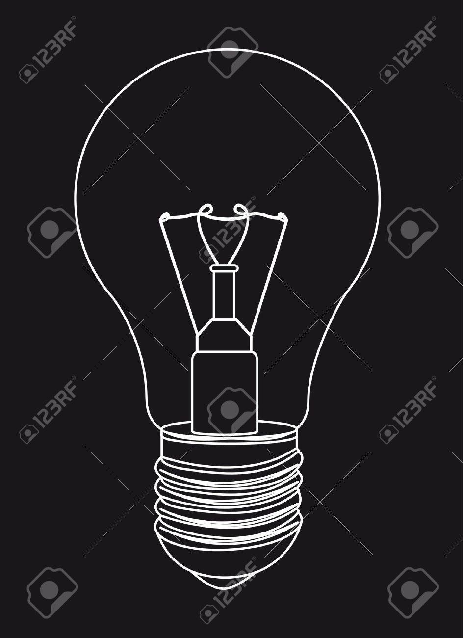 silhouette light bulb over black background. Stock Vector - 13439244