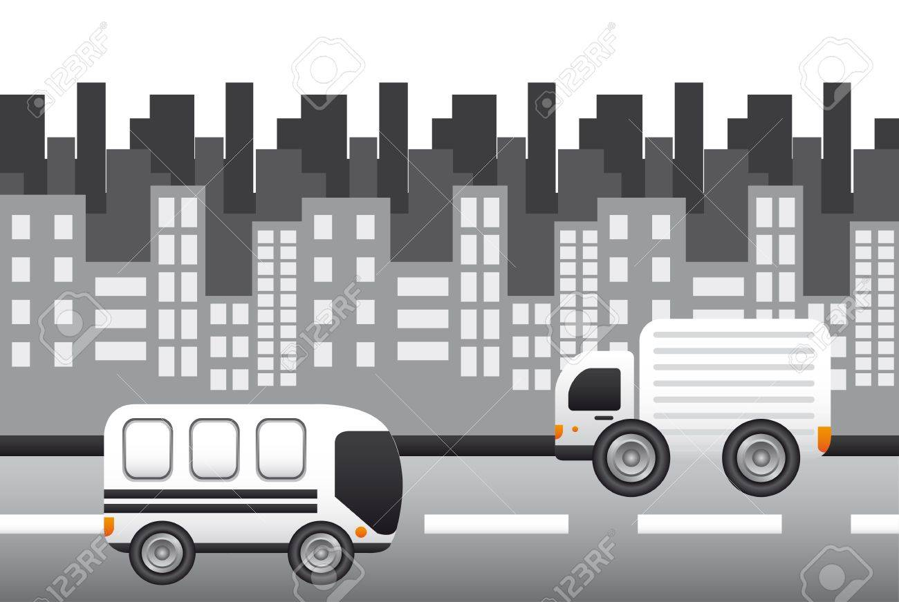 city with transportation over street, background. Stock Vector - 13439033