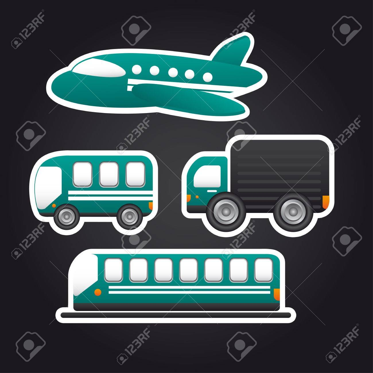 transportation icons over black background. Stock Vector - 13439077