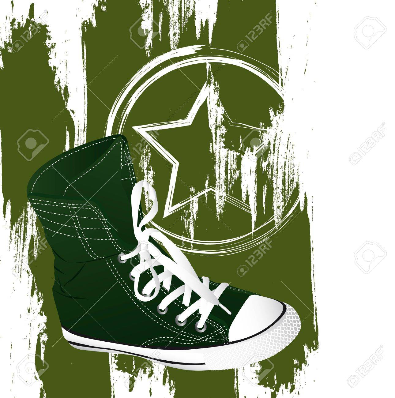 grunge military sneakers over white background. Stock Vector - 13440636