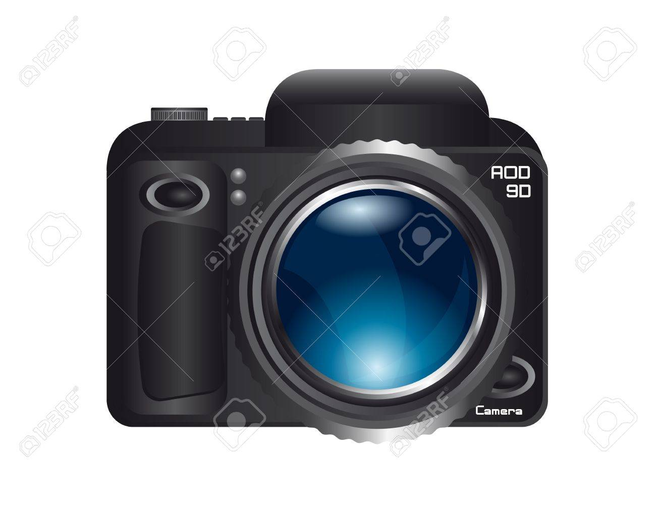 camera with blue zoom lens isolated over white background. vector Stock Vector - 13599509