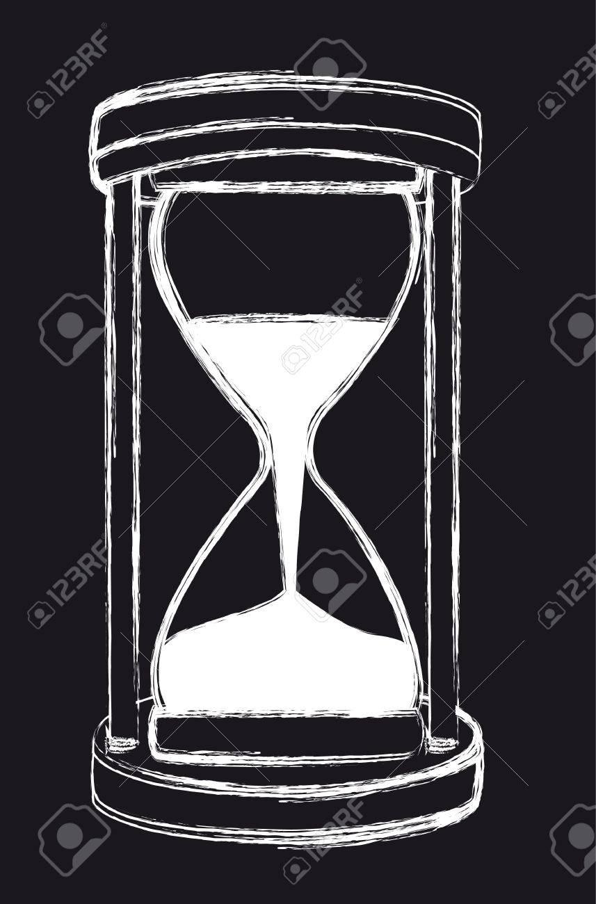 Blanco Y Negro De Reloj De Arena Del Grunge Fondo Ilustración