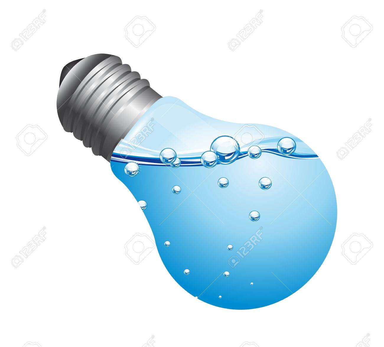 light bulb with water isolated over white background. vector Stock Vector - 13600026