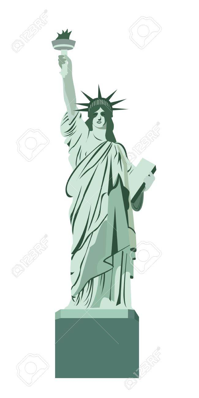 白い背景で隔離された自由の女神ベクトル イラストのイラスト素材