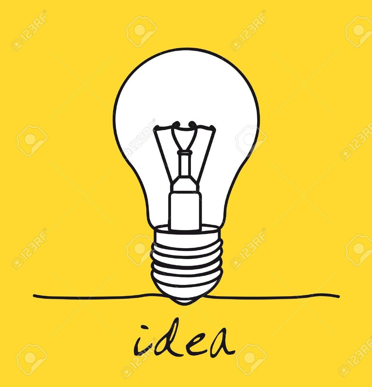 黄色の背景、アイデア以上電球。ベクトル イラスト ロイヤリティフリー